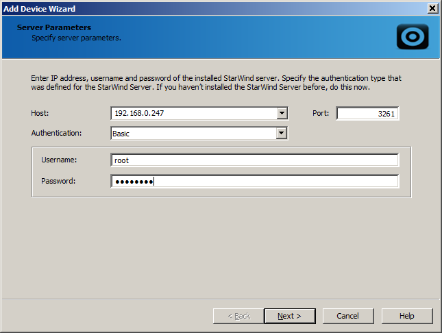 Creating and Connecting a StarWind Target Note: StarWind target requires preliminary installation and launch of a StarWind server on the network. To create a StarWind target: 1.