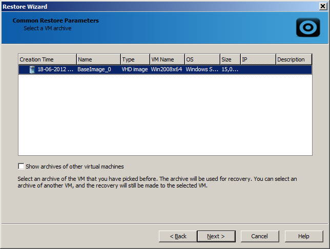 7. Define parameters of the VM that will be applied after its restore.