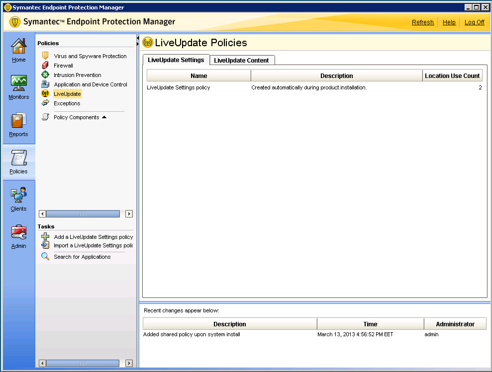 Configure LiveUpdate To configure live update with Symantec Endpoint Protection: 1. In a web browser, log on to Symantec Endpoint Protection Manager.