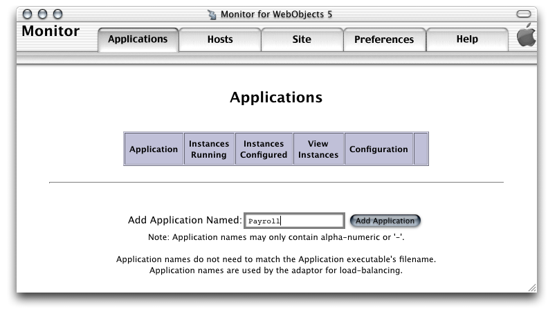 Deployment Tasks Setting Up Applications Adding an Application You add applications to your site using JavaMonitor s Applications page, shown in Figure 5-5.