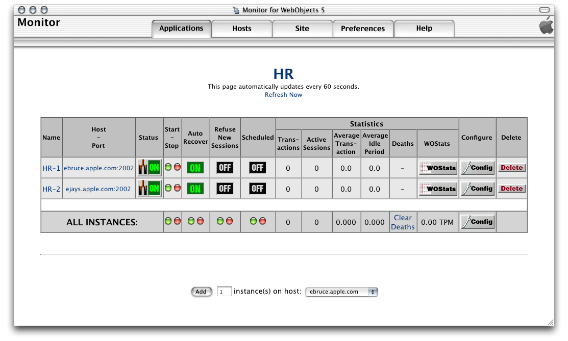 Deployment Tasks Setting Up Applications Figure 5-14 shows the application detail page of the HR application, with two instances configured.