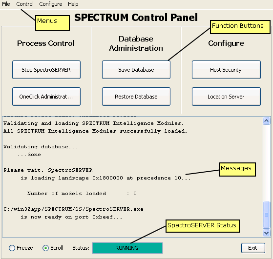 CA Spectrum Control Panel Overview CA Spectrum Control Panel Overview The CA Spectrum Control Panel lets you configure resources, start and stop the SpectroSERVER,