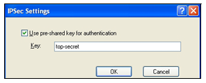 13 Select the Use pre-shared key for authentication check box and enter the pre-shared key