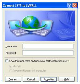 15 Enter the user name and password of your USG account. Click Connect. 16 A window appears while the user name and password are verified.