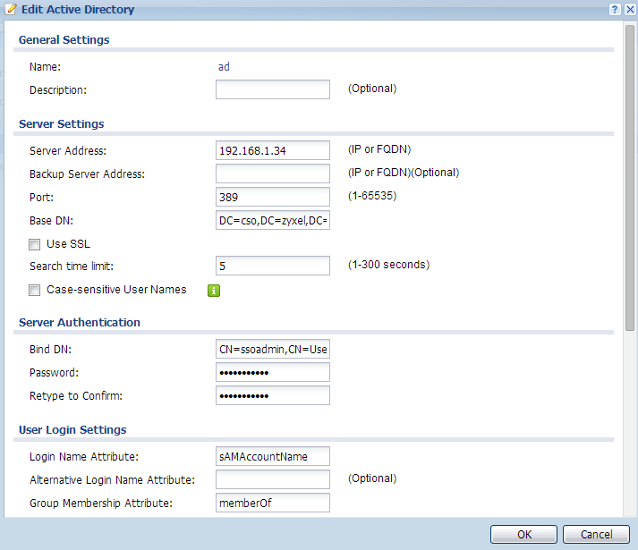 Configure the AD server that has the same settings as step 2