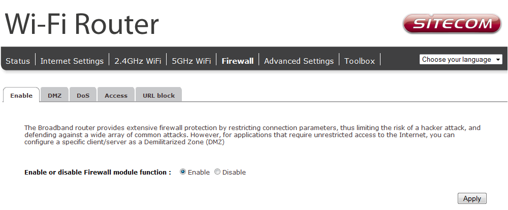 Firewall Settings The router provides extensive firewall protection by restricting connection parameters, thus limiting the risk of hacker attacks, and defending against a wide array of common
