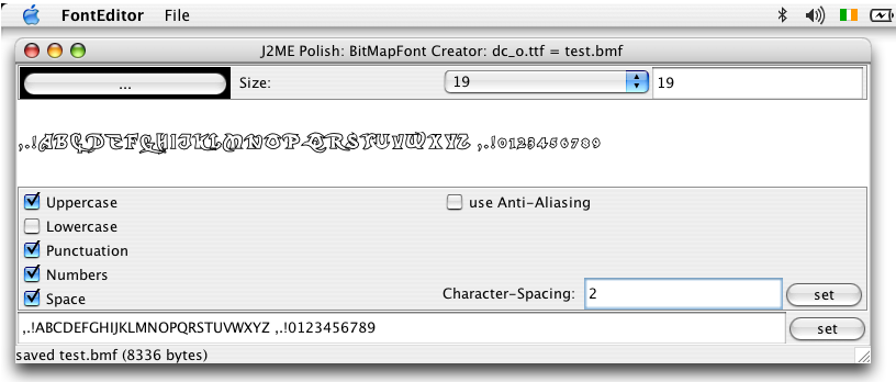 Standalone Tools Fig. 9: The font editor in action.