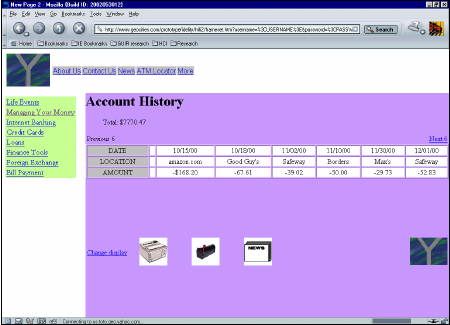 Figure 63: Account history pages for the two websites in both low fidelity and high fidelity. Lowfidelity websites are on the left and high-fidelity on the right.