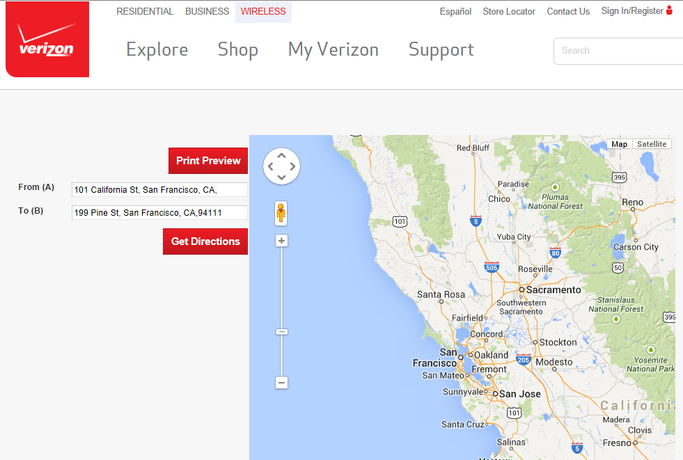 Figure 21: Google maps via Verizon s website Source: Verizon, Google Figure 22: Directions to store via