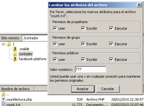 Using social networking to expand an application 41 The file count.php has the function to read and to write in, and the file countlectura only can read it.