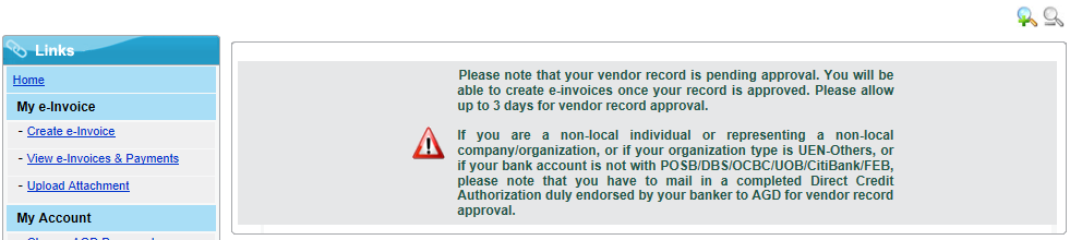 3 Vendor Status Shown Upon Log-in For