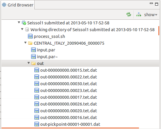 Figure 3: Screenshot of the irods GridBean, field values must be selected in order to perform stagein/stageout of files from/to irods file system Figure 4: SeisSol output files from the grid browser