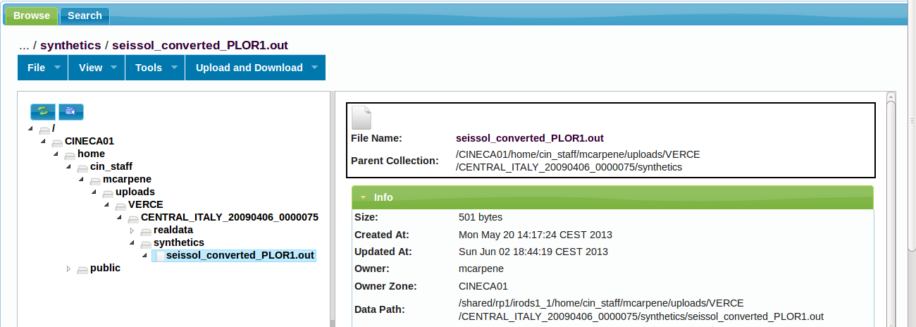 Figure 5: Screenshot of the idrop web portal, for testing purposes files have been automatically uploaded to the user home folder Metadata are also added (imeta command) to associate the right