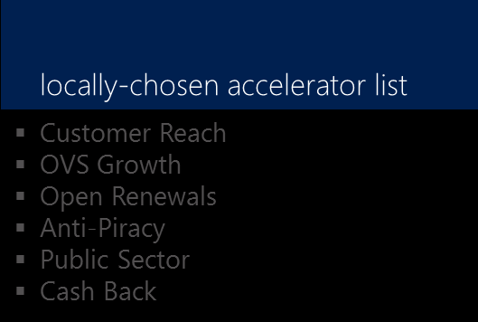 Locally-Chosen Accelerators Activity Definitions and Requirements The subsidiary/area augments the globally-driven incentives through accelerators, selected to address local market conditions.