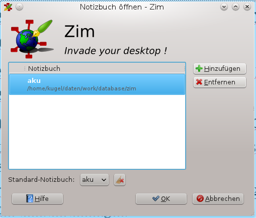 Starting Start ZIM from menu or type zim on the command