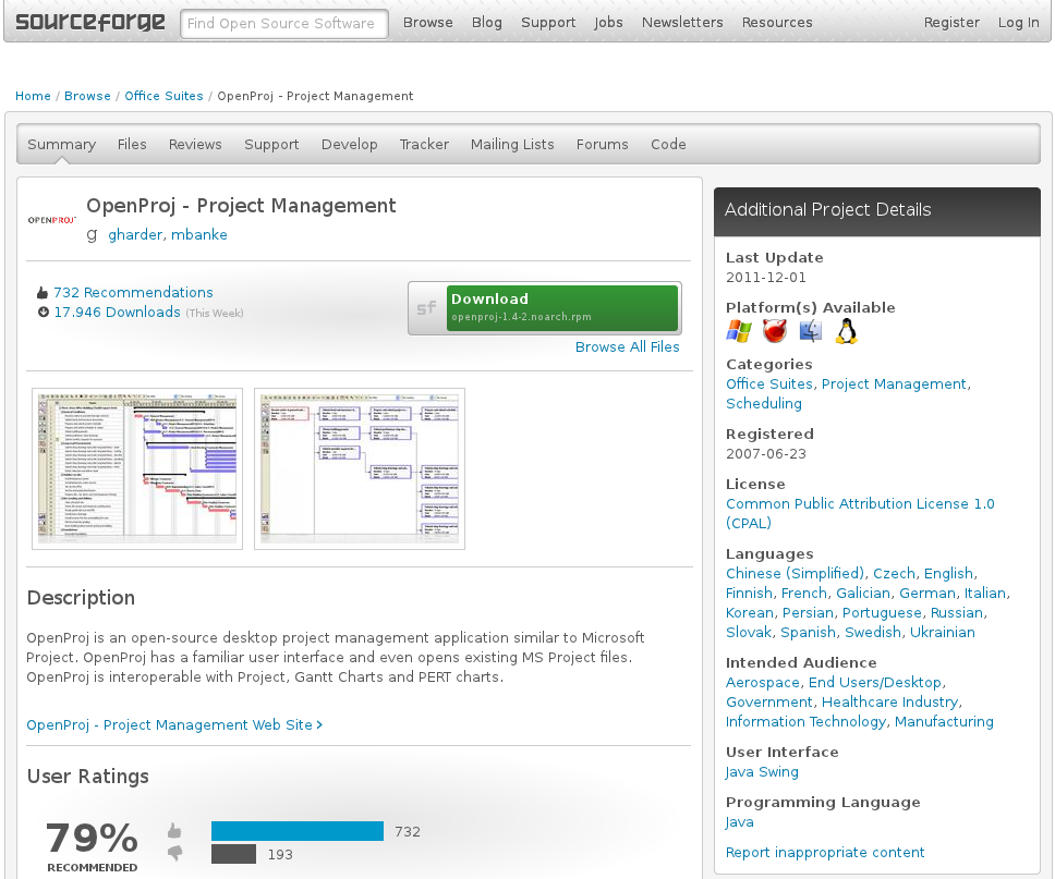 Openproj Serves basic functionality plus dynamic updates Limited compatibility to MS Project