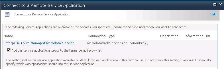 The final result is that we only see Services Applications of the originally specified type, as indicated below.