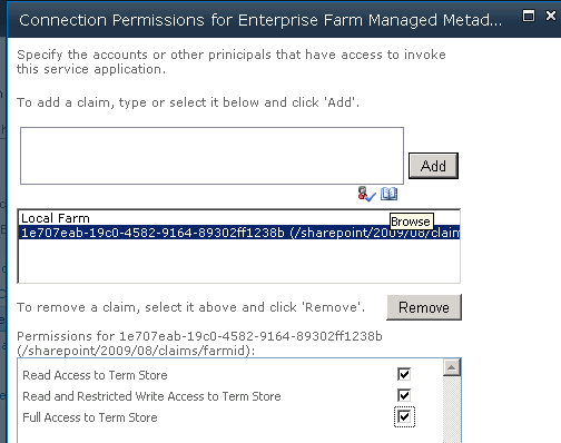 Farm ID into the Text Box and click Add. Then check the appropriate permissions. We are now ready to test our service.