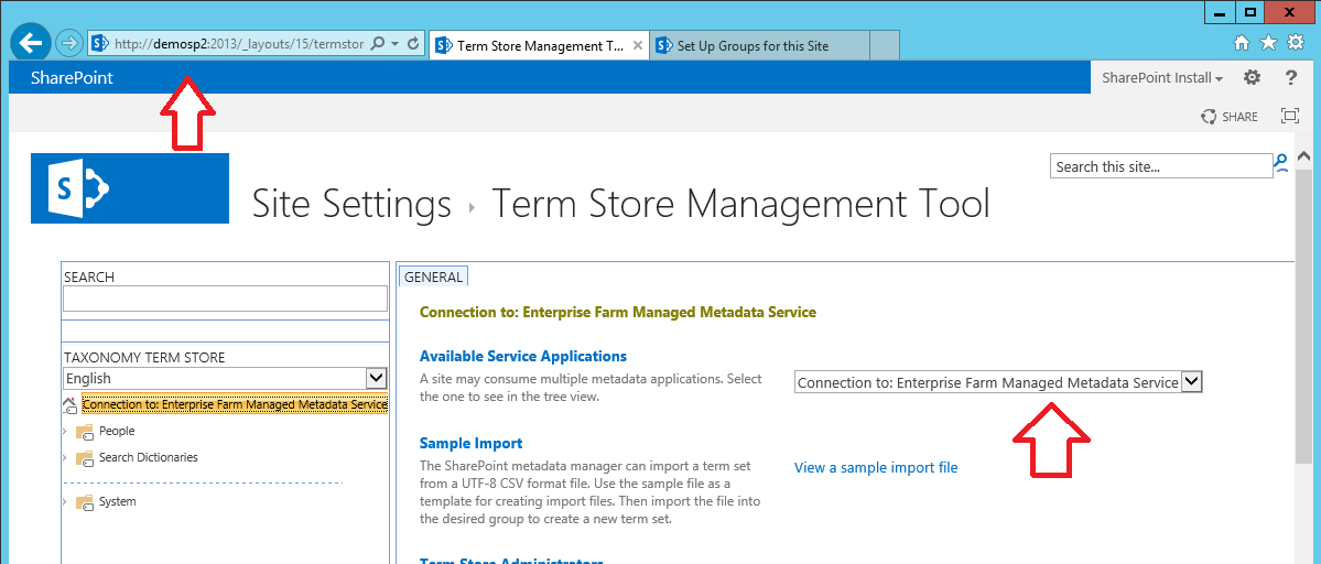 Figure 16 - Managed Metadata The Term Store Management tool should appear as follows.
