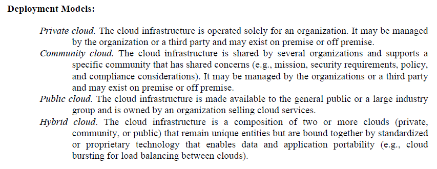 NIST SP-800-145 A NIST Definition of Cloud Computing http://csrc.nist.