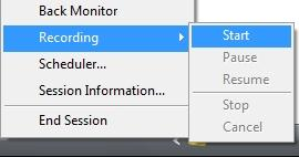 Recording & Playback To start recording your session click on the icon, move your mouse over Recording and click Start.