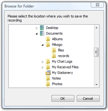We suggest that you save the recordings under My Documents/Mikogo/records, but you can of course select your preferred folder.