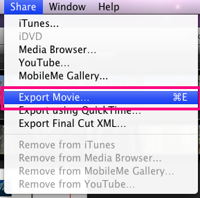 You will now need to select your entire movie by clicking and dragging, or you may right click and choose Select