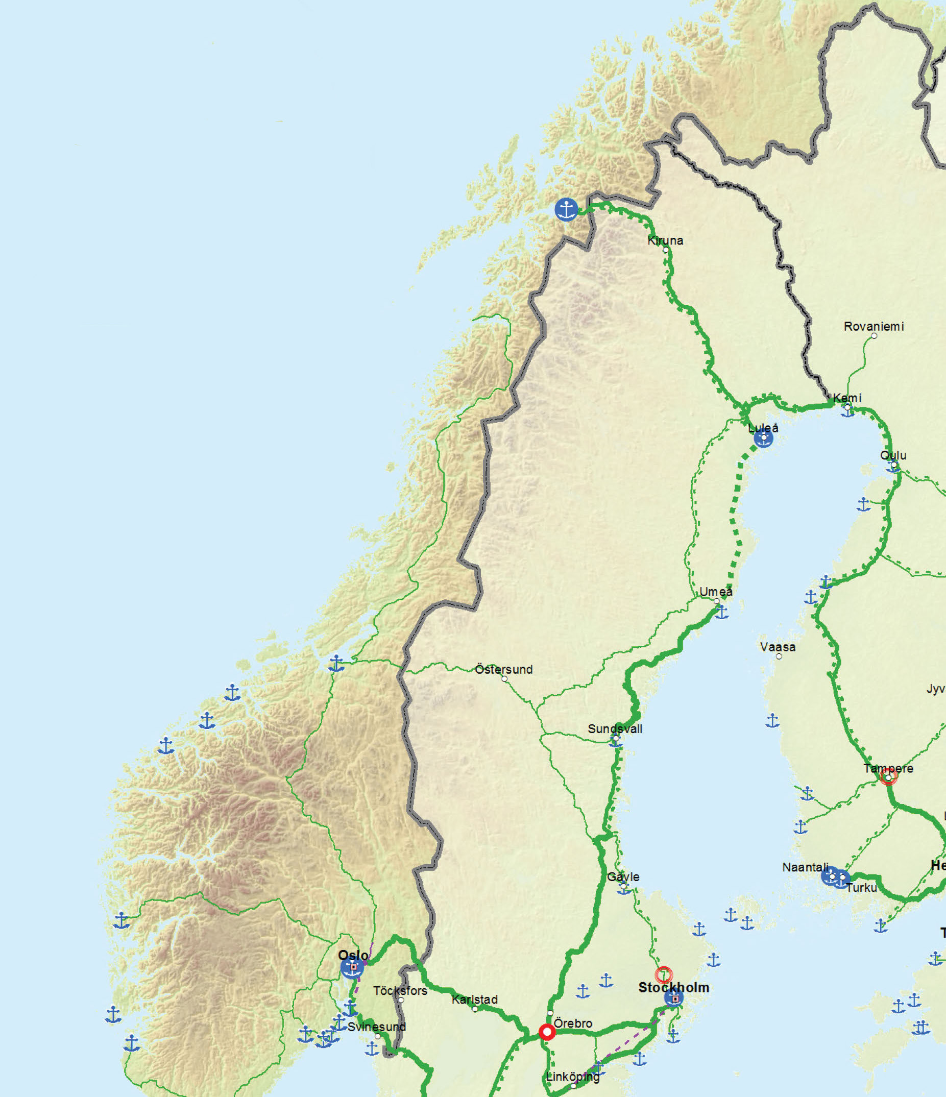 The Gateway to the Arctic PORT LOGISTICS: RAIL-ROAD-SEA-AIR Part of extension of the core EU TEN-T rail,