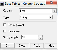 Data Table Store (Here, each time the lamp changes state, the date and time will be logged to a data table) Step 1: Select the Data Table Icon from the main menu toolbar (figure 1).