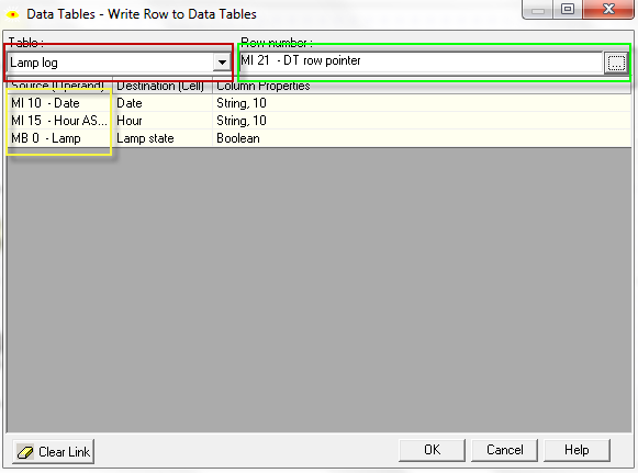 Next, B (String address destination) appears, shown below. Enter MI, 15, Time into the window. Click OK Step 8: From the main menu toolbar (figure 1) select Data Tables>Data Tables Write Row.
