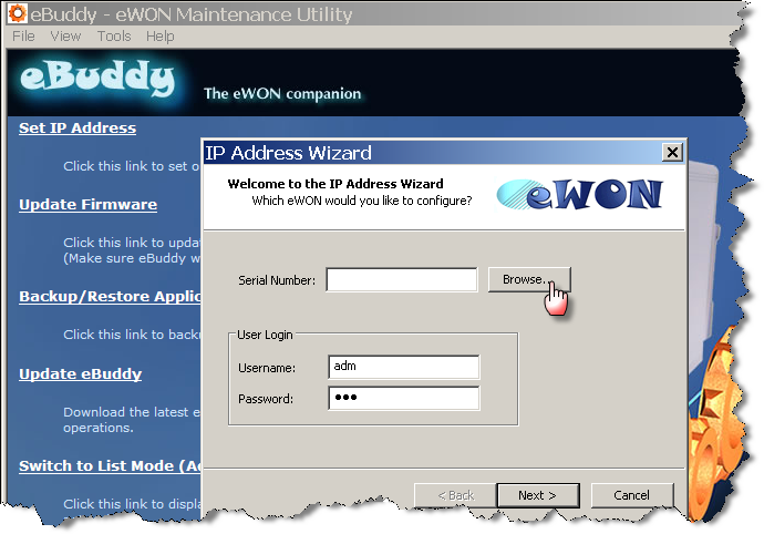 Chapter 4 COSY IP Address & Access to the Web Configuration Start the ebuddy utility on