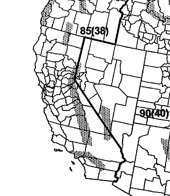 Society of Civil Engineers,2006). In fig. 54, the basic wind speed is 85 mph (38 meters per second) in California. Shaded areas denote special wind regions where unusual wind conditions exist.