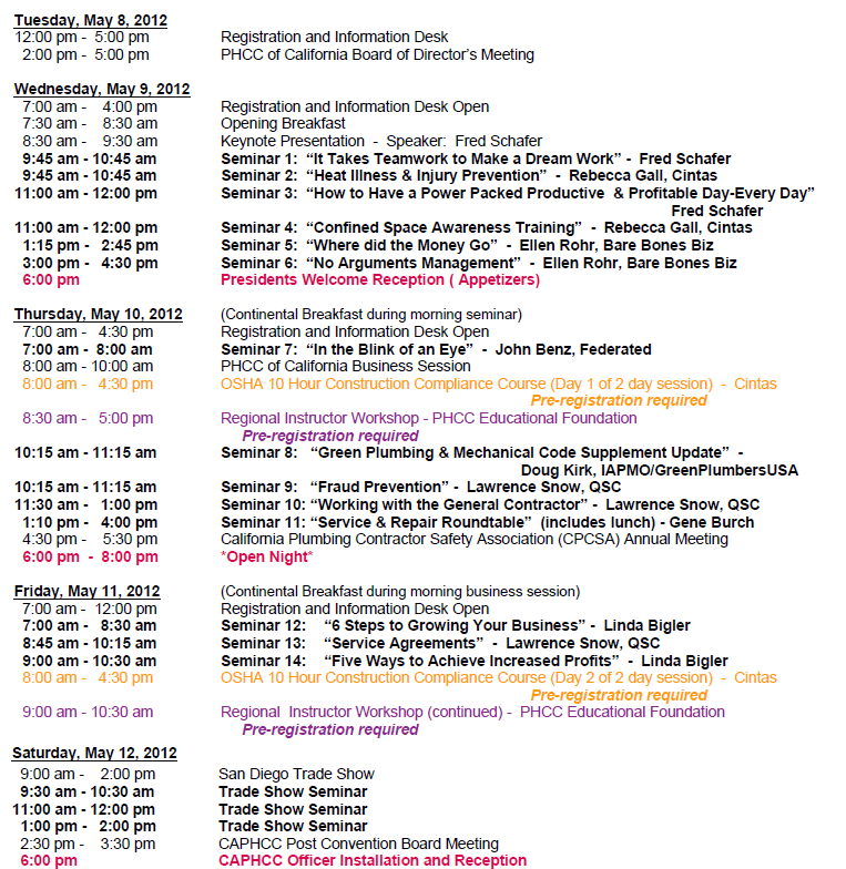 Page 18 PHCC West Convention: Schedule at a Glance May