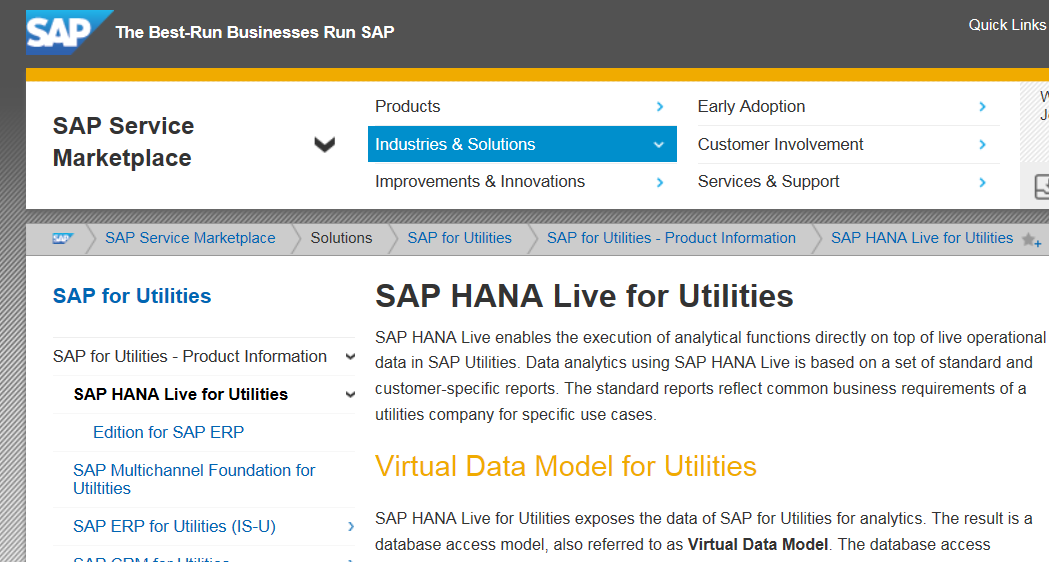 HANA Live Reporting SAP for Utilities - Related Information For more information on topics discussed in