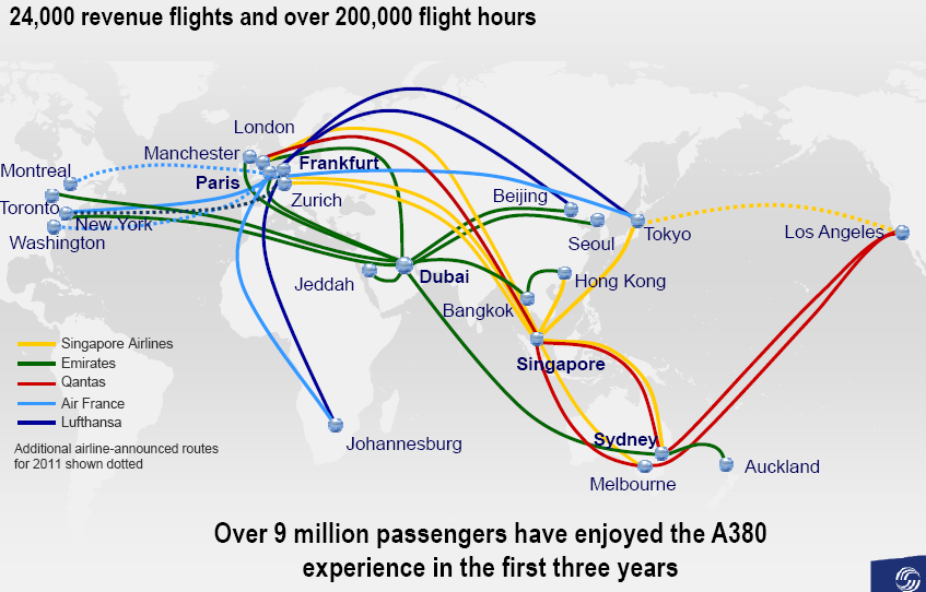 A380 growing network
