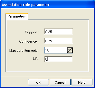 Extraction of association rules. We can insert the A PRIORI component now (ASSOCIATION tab). We activate the PARAMETERS menu in order to specify the parameters of the analysis.