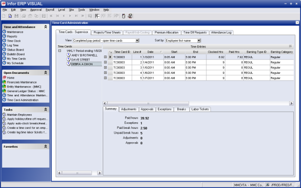 VISUAL Time & Attendance Infor offers a time and labor management system: Infor ERP VISUAL Time & Attendance.
