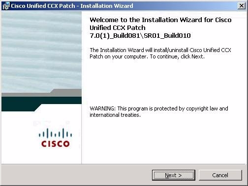 Chapter 12 Patching Cisco Unified CCX Installing or Reinstalling a Patch Figure 12-2 Welcome to the Installation Wizard Window Step 3 In the Welcome to the Installation Wizard window, click Next.