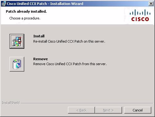 Uninstalling a Patch Chapter 12 Patching Cisco Unified CCX Figure 12-6 Patch Already Installed Window Step 5 In the Patch