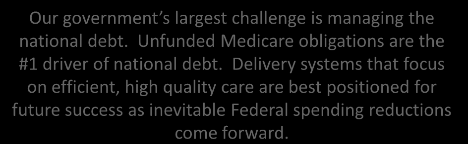 Large HealthCare Spending Reductions Appear Inevitable Our government s largest challenge is managing the national debt.