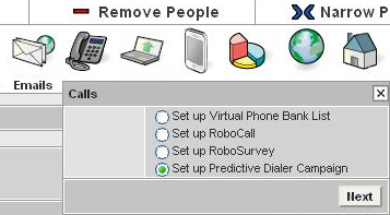 Step Three: Send your List to your Predictive Dialer Campaign Hit the Calls button (marked with phone icon) and select Predictive Dialer Campaign.