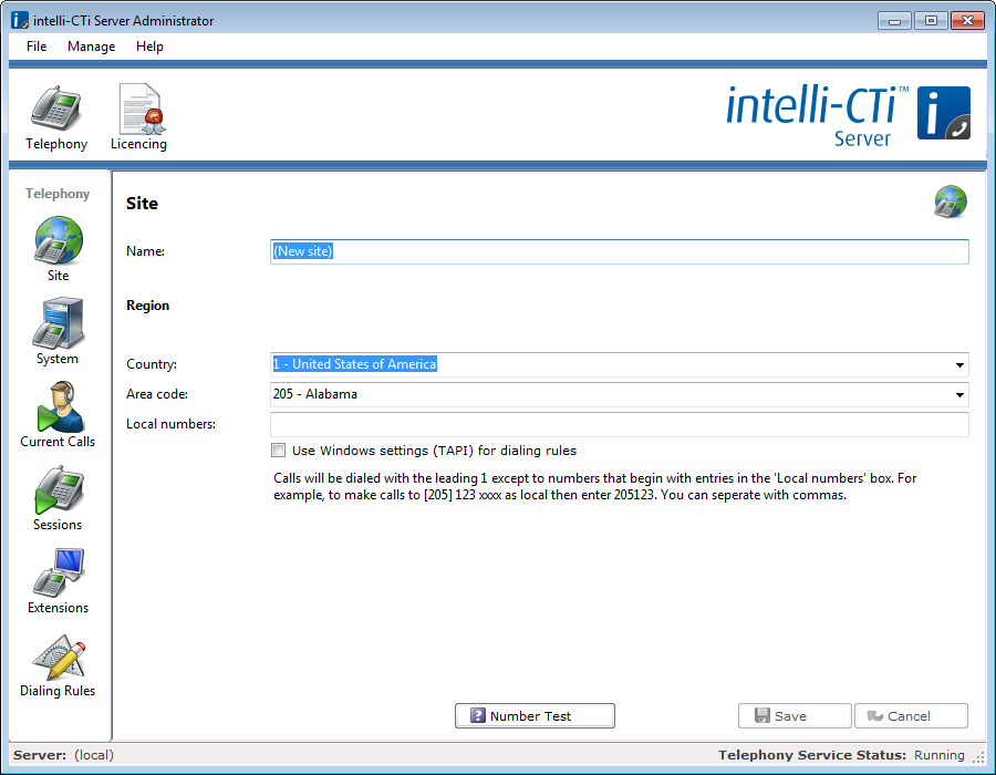 intelli-cti Installation 11. Click the Telephony toolbar button to enter the telephony admin area. By default to will be taken to the Site page. Here you can enter information about your location. 12.