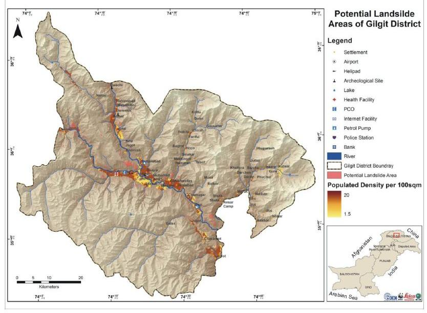 "Figure 14: Map showing potential landslide areas of Gilgit District Source: ""Report on Hazard Vulnerability and Risk Assessment of Gilgit"