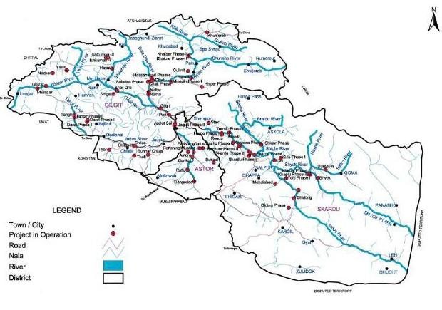 Figure 42: Map showing projects in operation in Northern Areas 38