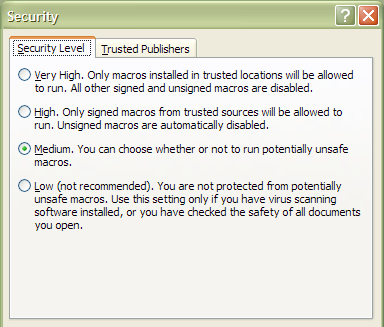 7. Open the CHANGE Sector Excel File and click Enable Macros in the Security Warning. Tip! Please note some organizations block users from changing the security level for macros.