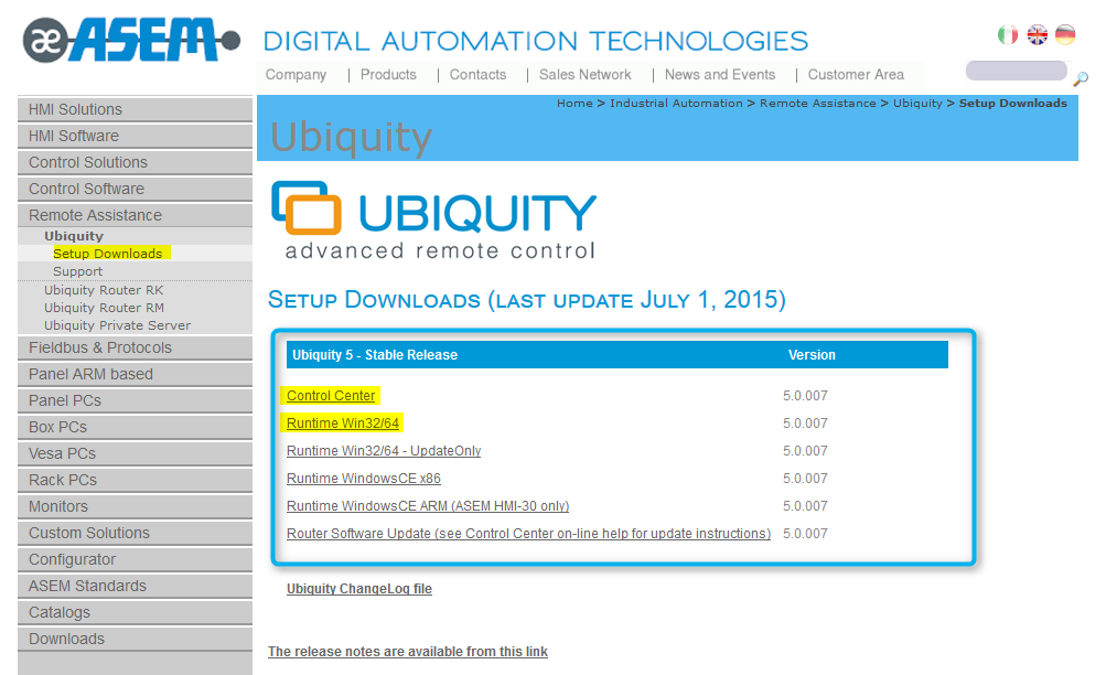 1 Downloads All the Ubiquity software components are downloadable from the ASEM web site from the following page: http://www.asem.
