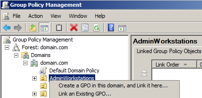 To install the administrative workstations in a domain and block Internet access with Group Policy proxy settings 1.