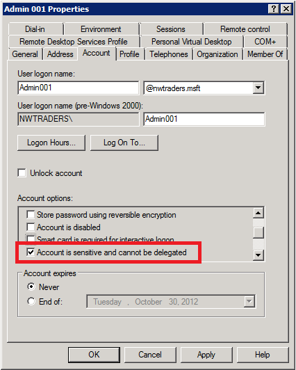 Task 4: Disable the account delegation right for privileged accounts Although no user accounts are marked for delegation by default, accounts in an Active Directory domain can be trusted for