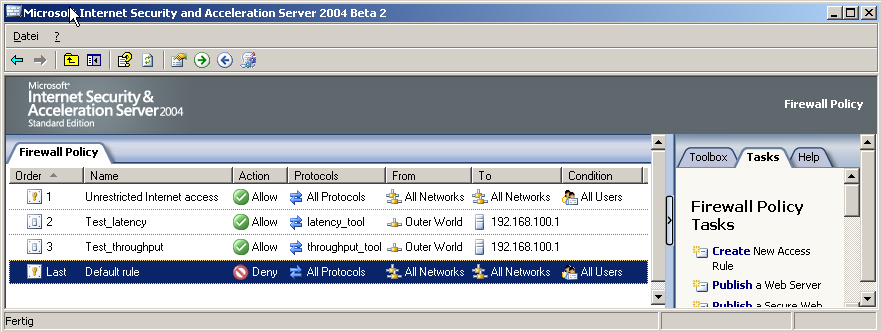 Figure 22: Ruleset 2 on ISA server 3.5.4.3 Ruleset 3 Figure 23 shows the realisation of the third ruleset 3.5.1.3 defined on page 62. In this configuration the firewall allows all the traffic.