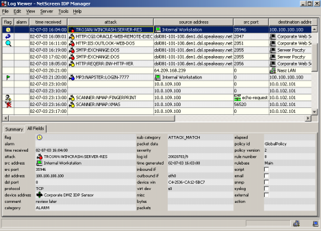 Object Editor - object management 1 on which the IDP security system operates. Basic objects include Network Object (e.g. network, host, server, sensor), Service Object (e.g. FTP, HTTP, Telnet) and Attack Object (e.
